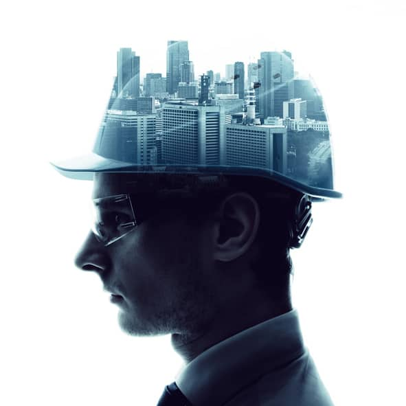 Engineer & urban cityscape